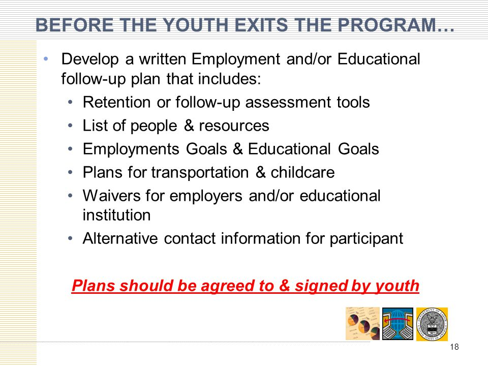 BEFORE THE YOUTH EXITS THE PROGRAM…