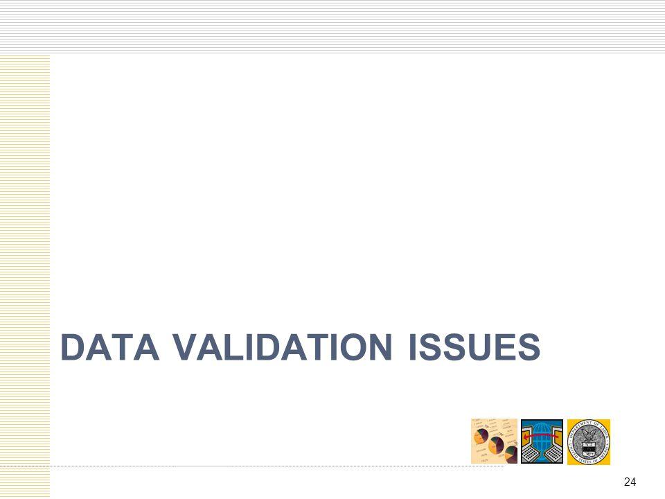 Data validation issues