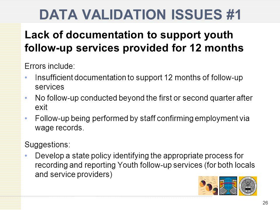 DATA VALIDATION ISSUES #1