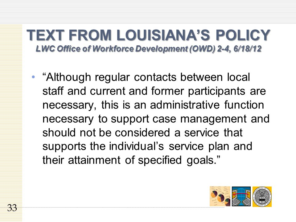 TEXT FROM LOUISIANA'S POLICY LWC Office of Workforce Development (OWD) 2-4, 6/18/12