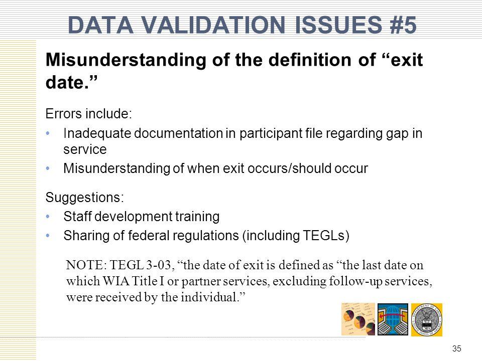 DATA VALIDATION ISSUES #5