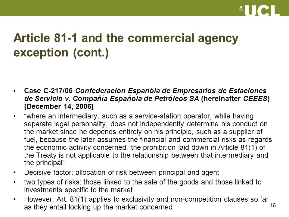 Article 81-1 and the commercial agency exception (cont.)