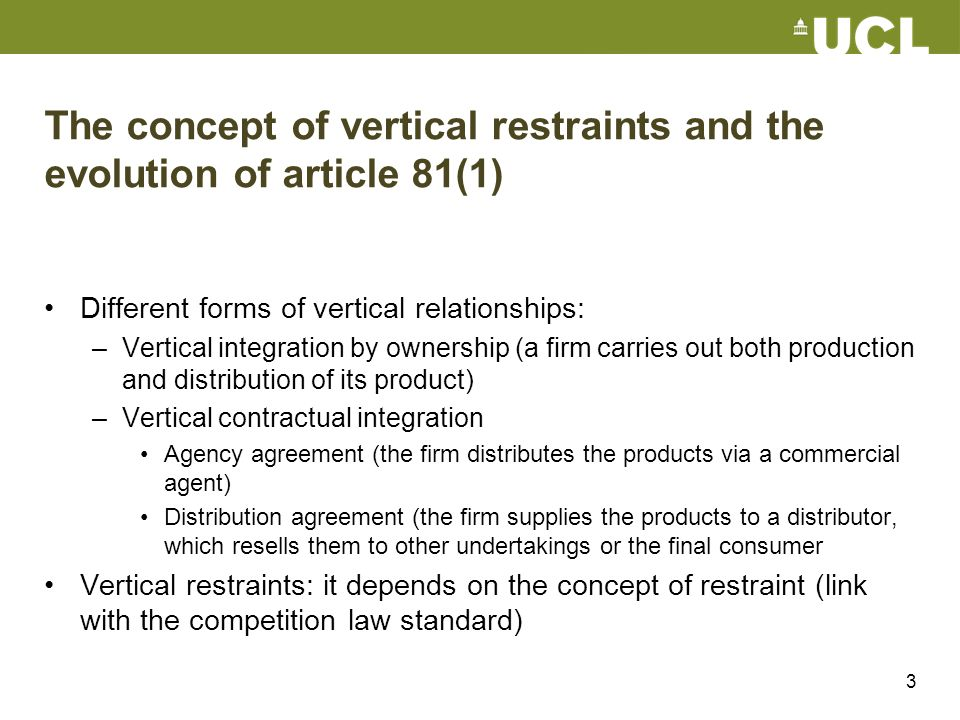 The concept of vertical restraints and the evolution of article 81(1)