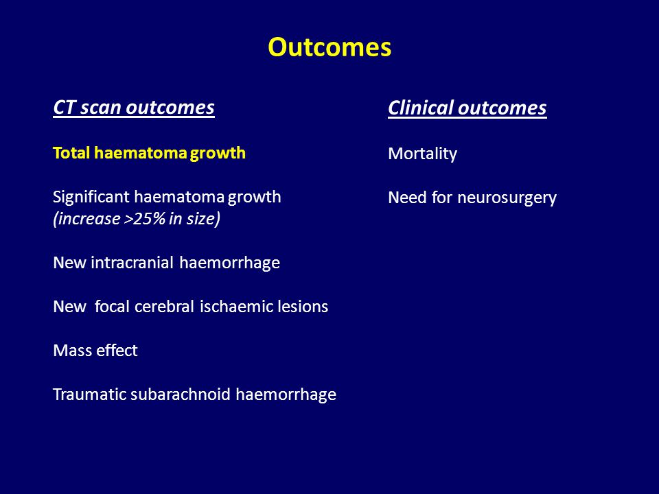 Outcomes CT scan outcomes Clinical outcomes Total haematoma growth