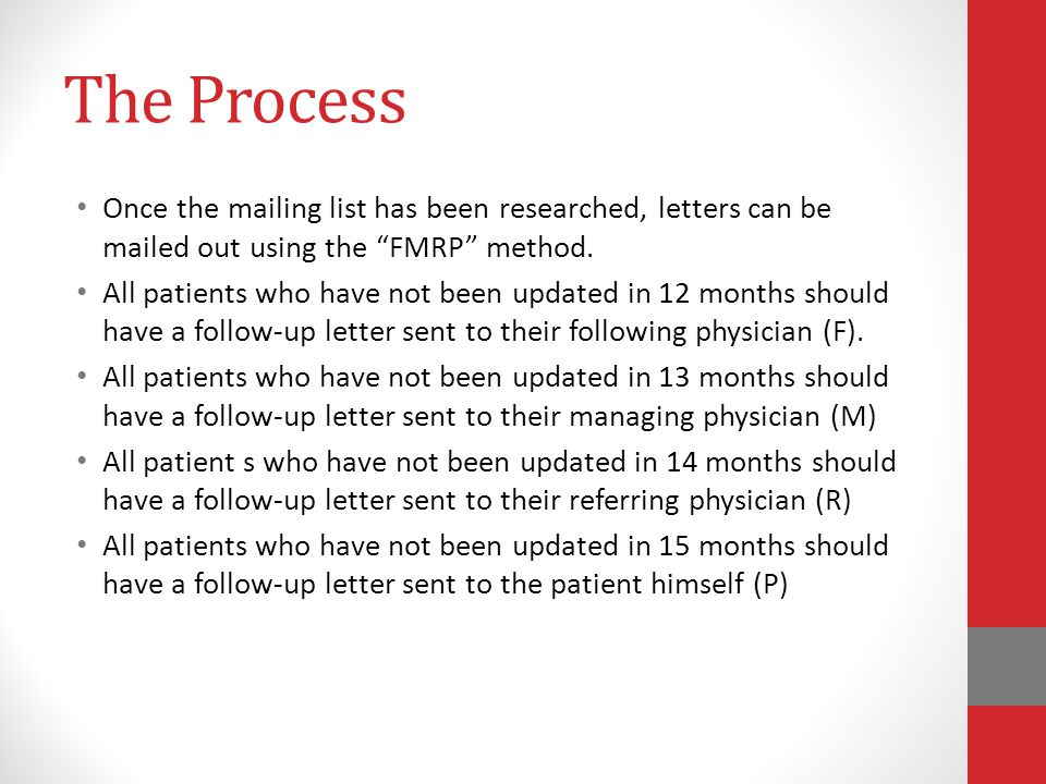 The Process Once the mailing list has been researched, letters can be mailed out using the FMRP method.