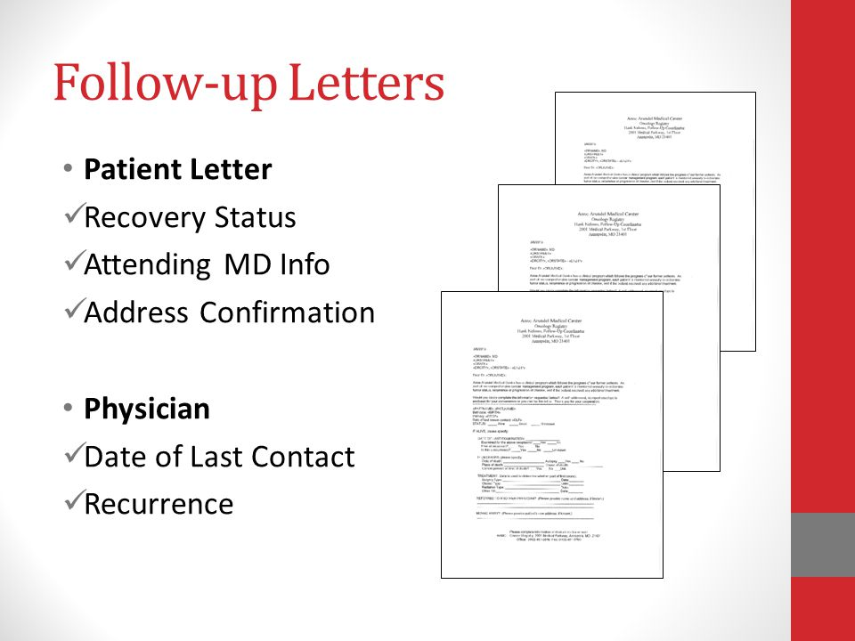 Follow-up Letters Patient Letter Recovery Status Attending MD Info