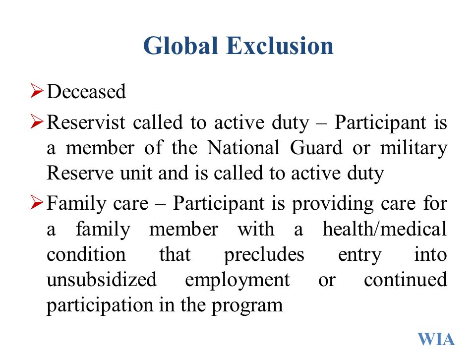 Global Exclusion Deceased