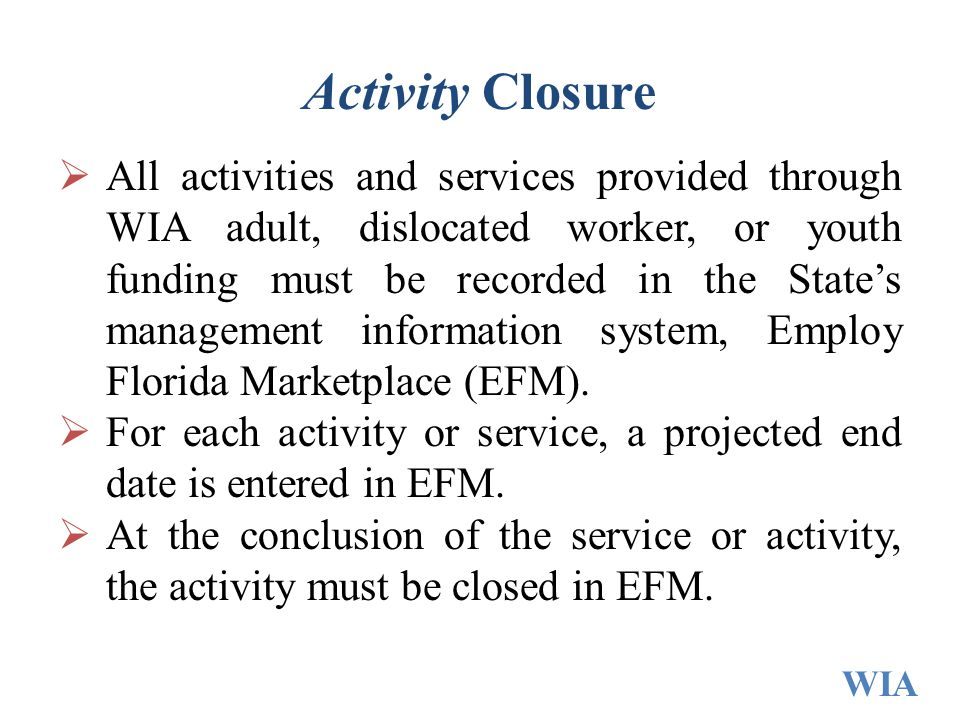 Activity Closure