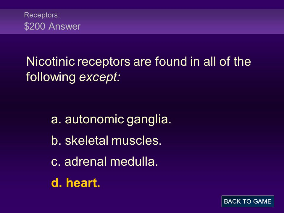 Nicotinic receptors are found in all of the following except: