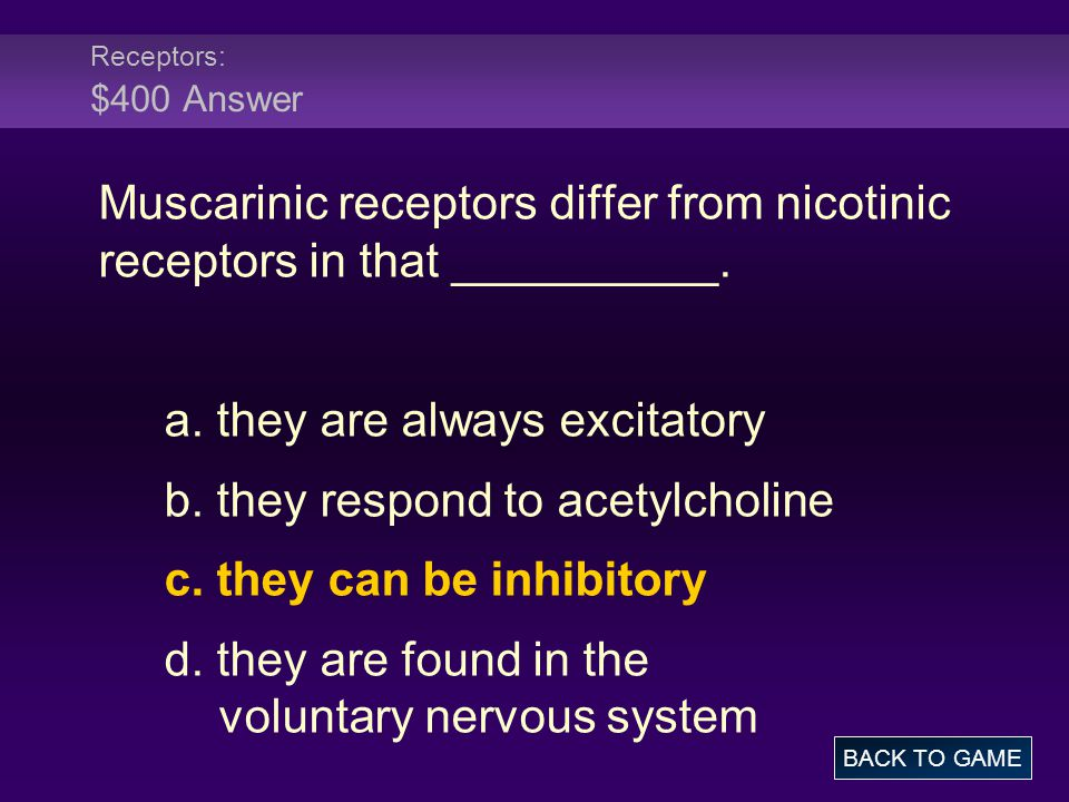 a. they are always excitatory b. they respond to acetylcholine