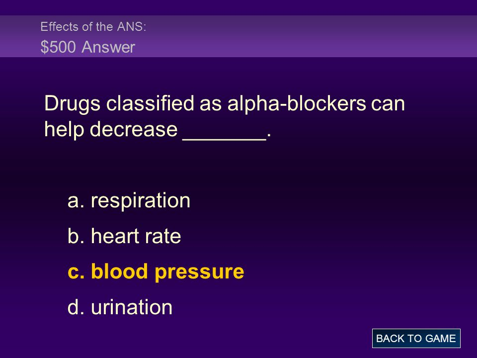 Effects of the ANS: $500 Answer