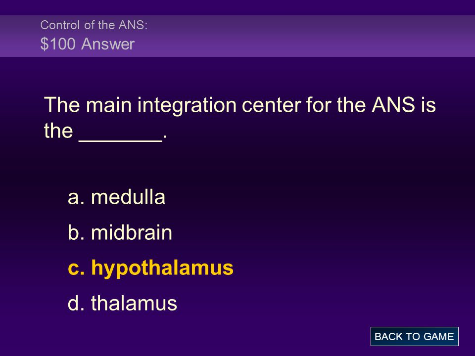 Control of the ANS: $100 Answer
