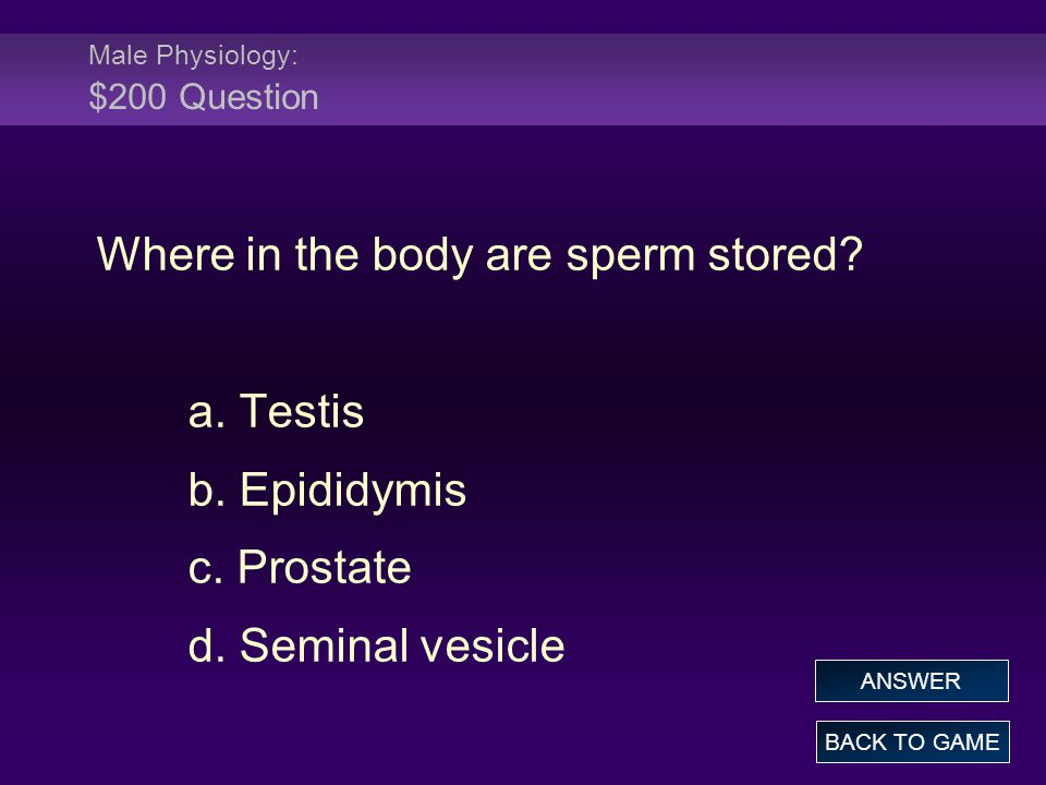 Male Physiology: $200 Question