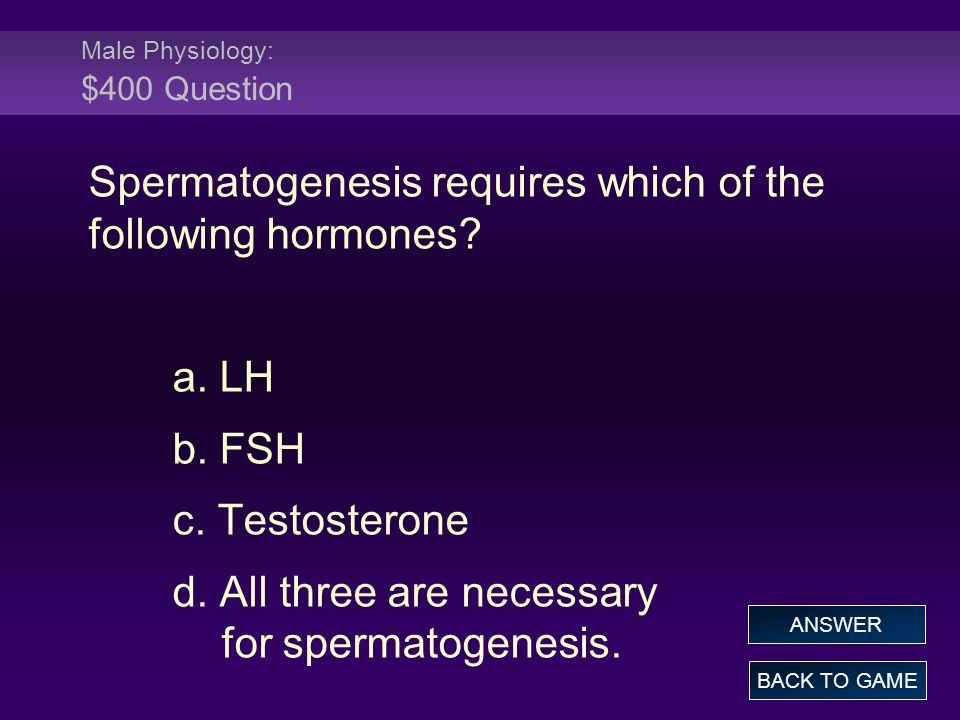 Male Physiology: $400 Question