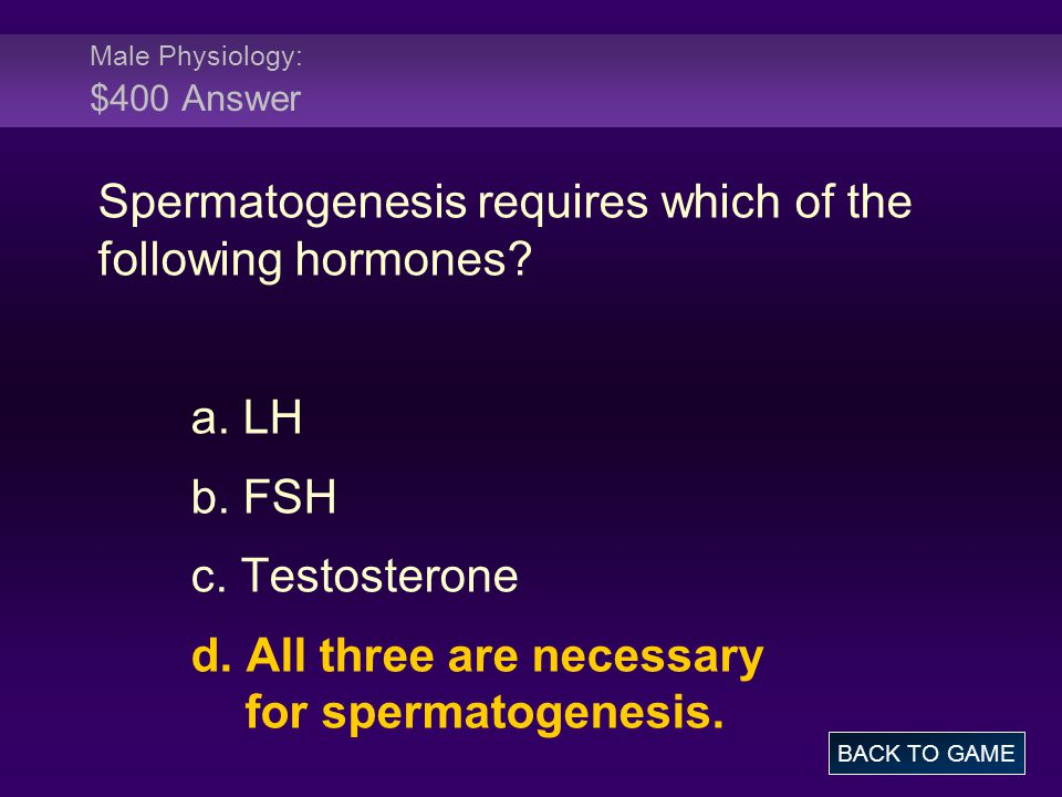 Male Physiology: $400 Answer