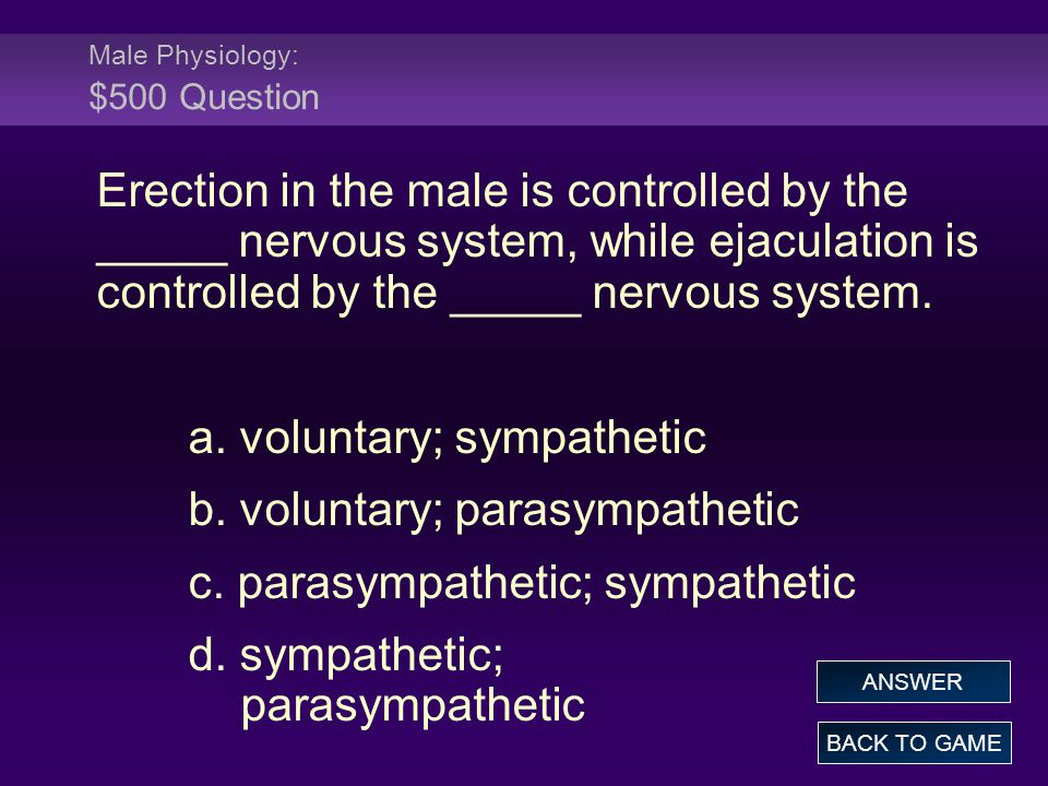 Male Physiology: $500 Question