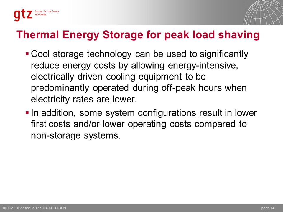 Thermal Energy Storage for peak load shaving