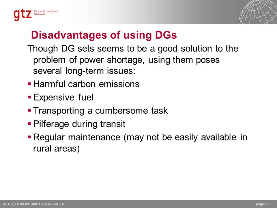 Disadvantages of using DGs