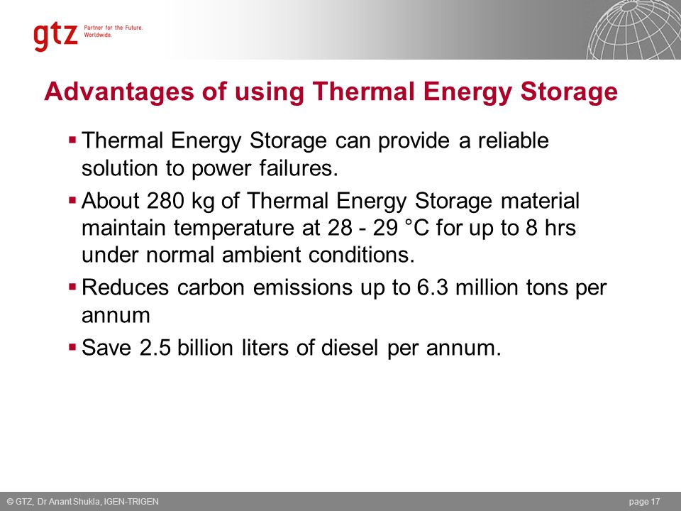 Advantages of using Thermal Energy Storage