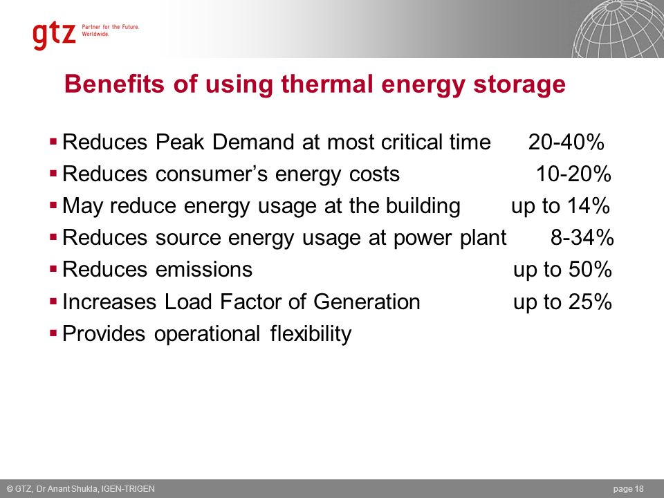 Benefits of using thermal energy storage