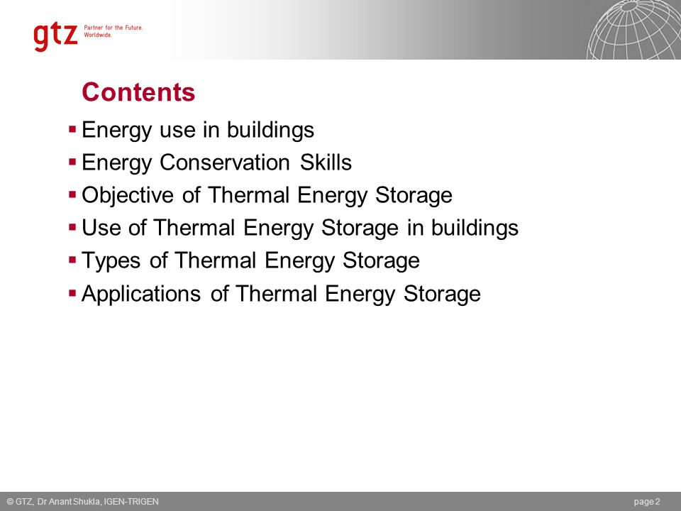 Contents Energy use in buildings Energy Conservation Skills