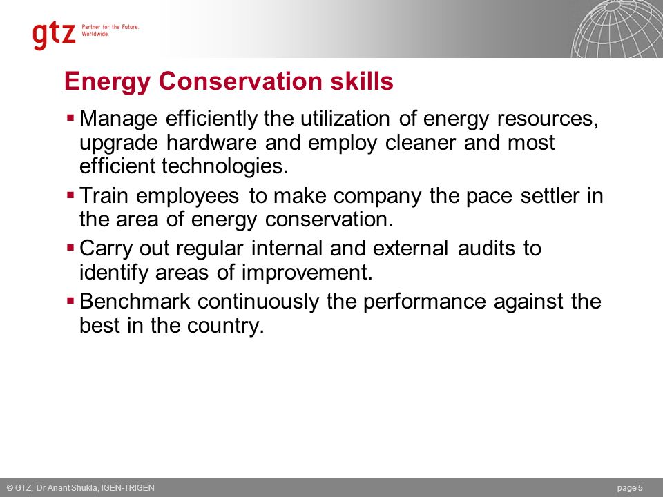 Energy Conservation skills