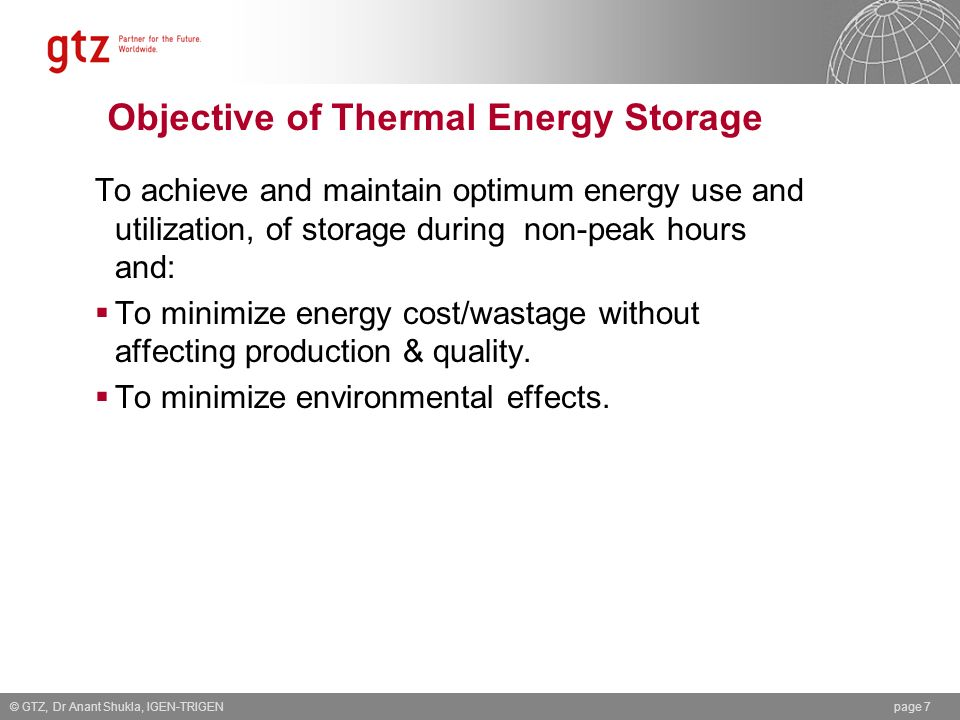 Objective of Thermal Energy Storage