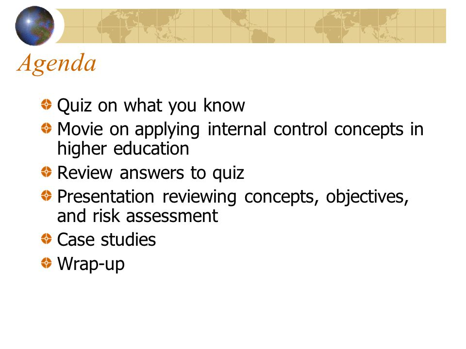 Agenda Quiz on what you know