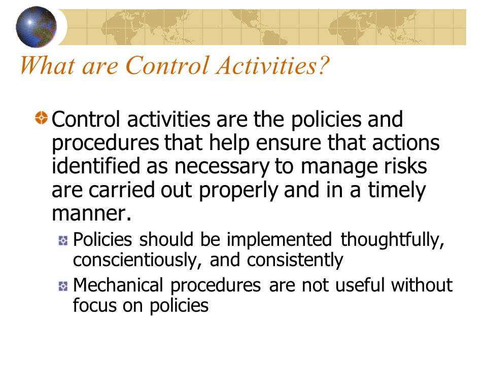 What are Control Activities