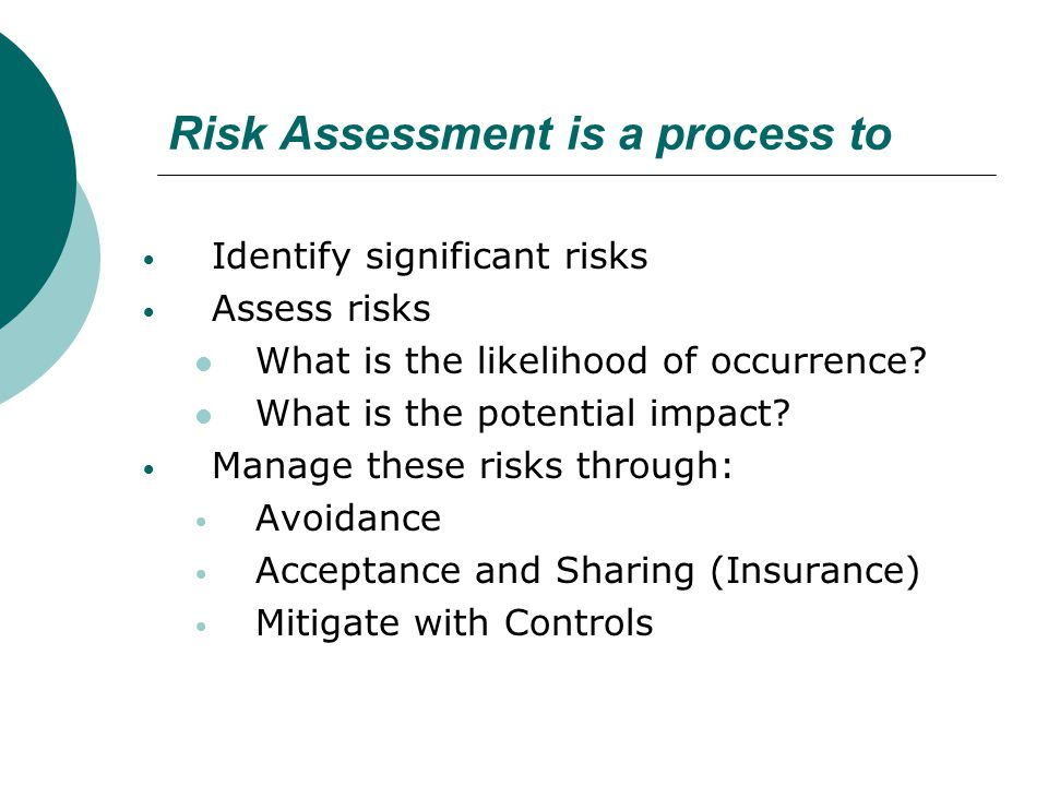 Risk Assessment is a process to