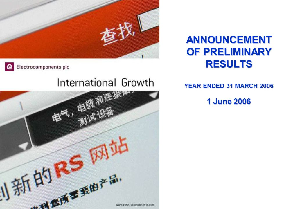 ANNOUNCEMENT OF PRELIMINARY RESULTS YEAR ENDED 31 MARCH 2006 1 June 2006
