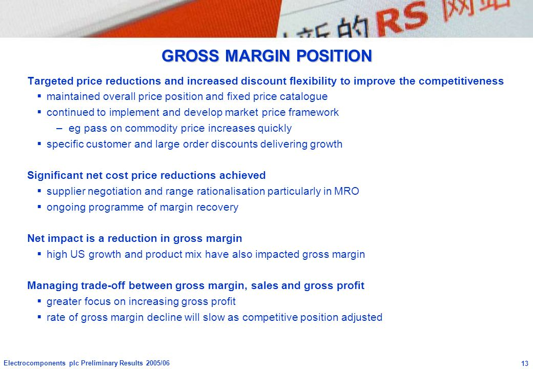 GROSS MARGIN POSITION Targeted price reductions and increased discount flexibility to improve the competitiveness.