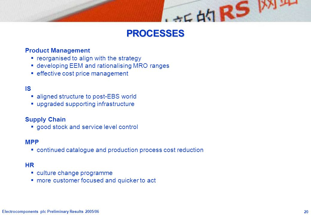 PROCESSES Product Management reorganised to align with the strategy