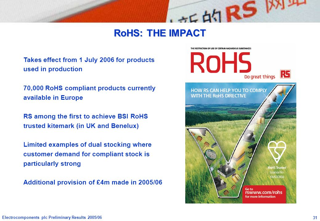 RoHS: THE IMPACT Takes effect from 1 July 2006 for products