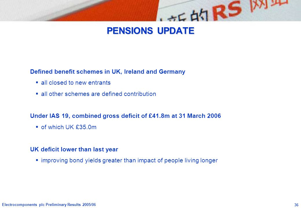 PENSIONS UPDATE Defined benefit schemes in UK, Ireland and Germany