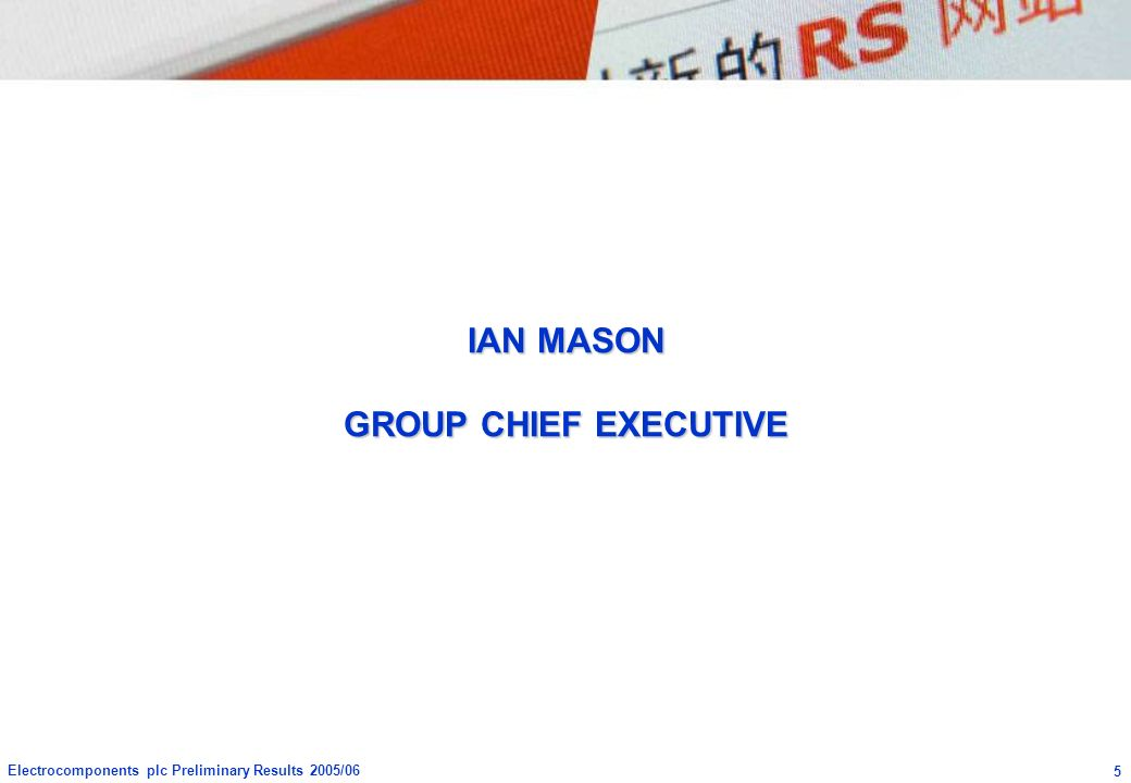 IAN MASON GROUP CHIEF EXECUTIVE