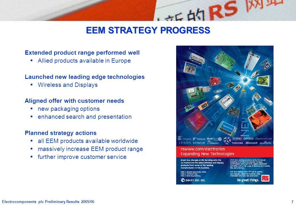EEM STRATEGY PROGRESS Extended product range performed well
