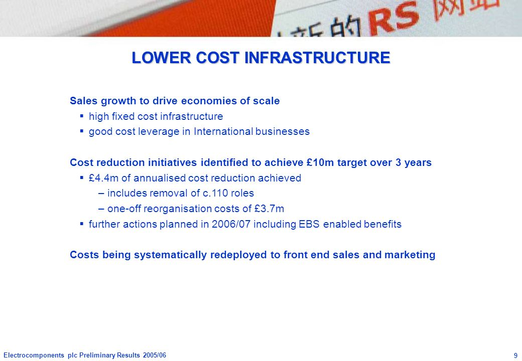 LOWER COST INFRASTRUCTURE