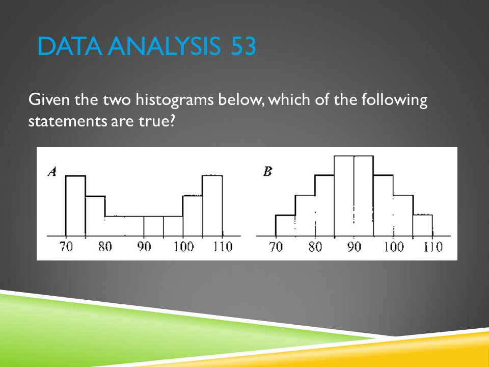 Data Analysis 53 Given the two histograms below, which of the following statements are true