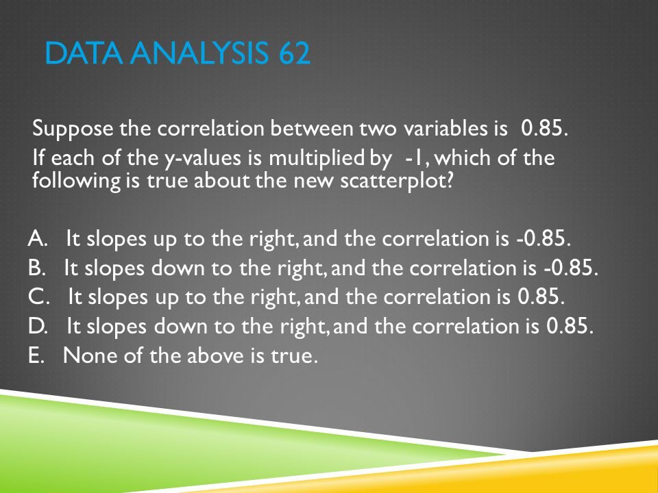 Data Analysis 62 Suppose the correlation between two variables is 0.85.