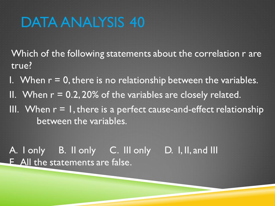 Data Analysis 40 Which of the following statements about the correlation r are true