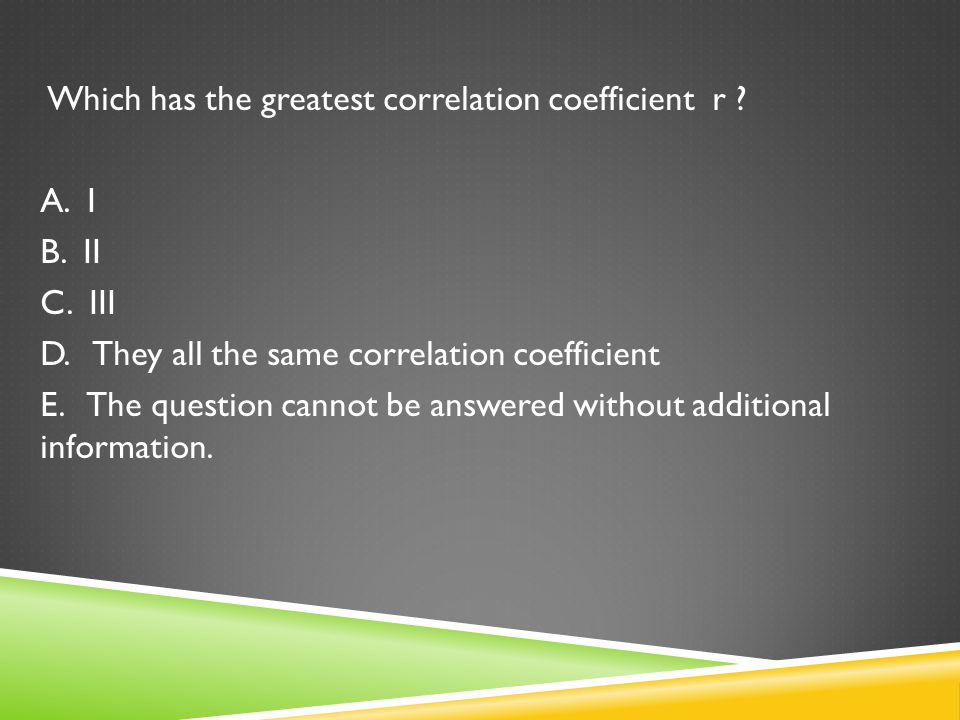 Which has the greatest correlation coefficient r