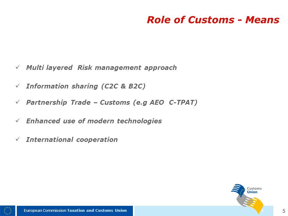 Role of Customs - Means Multi layered Risk management approach