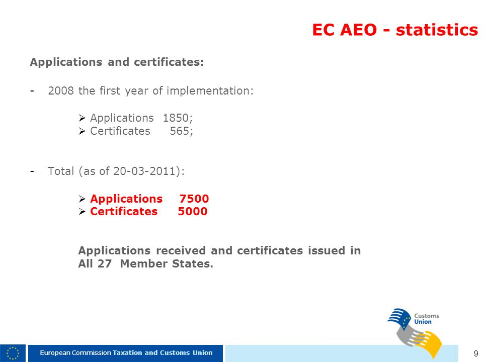 EC AEO - statistics Applications and certificates: