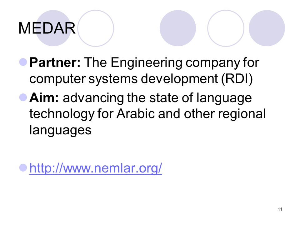 MEDAR Partner: The Engineering company for computer systems development (RDI)