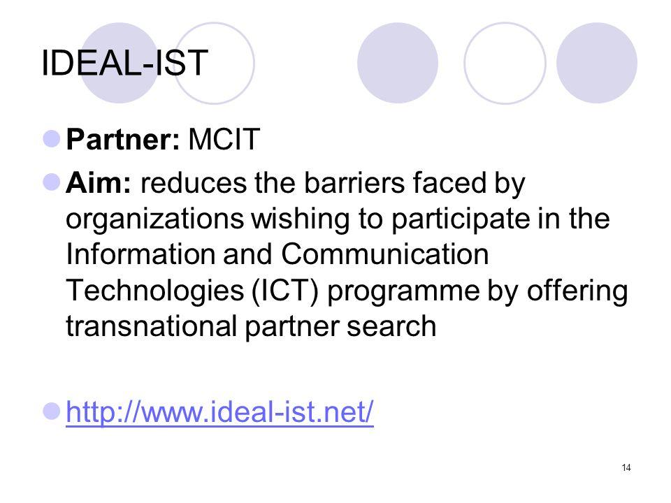 IDEAL-IST Partner: MCIT