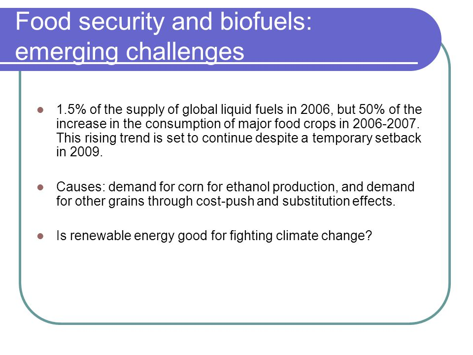 Food security and biofuels: emerging challenges