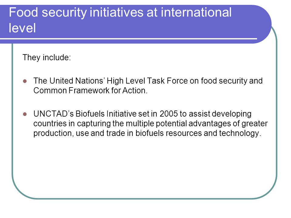 Food security initiatives at international level