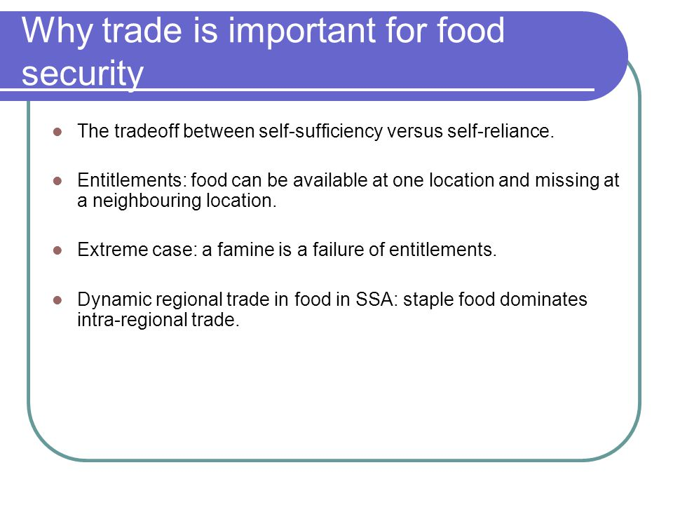 Why trade is important for food security