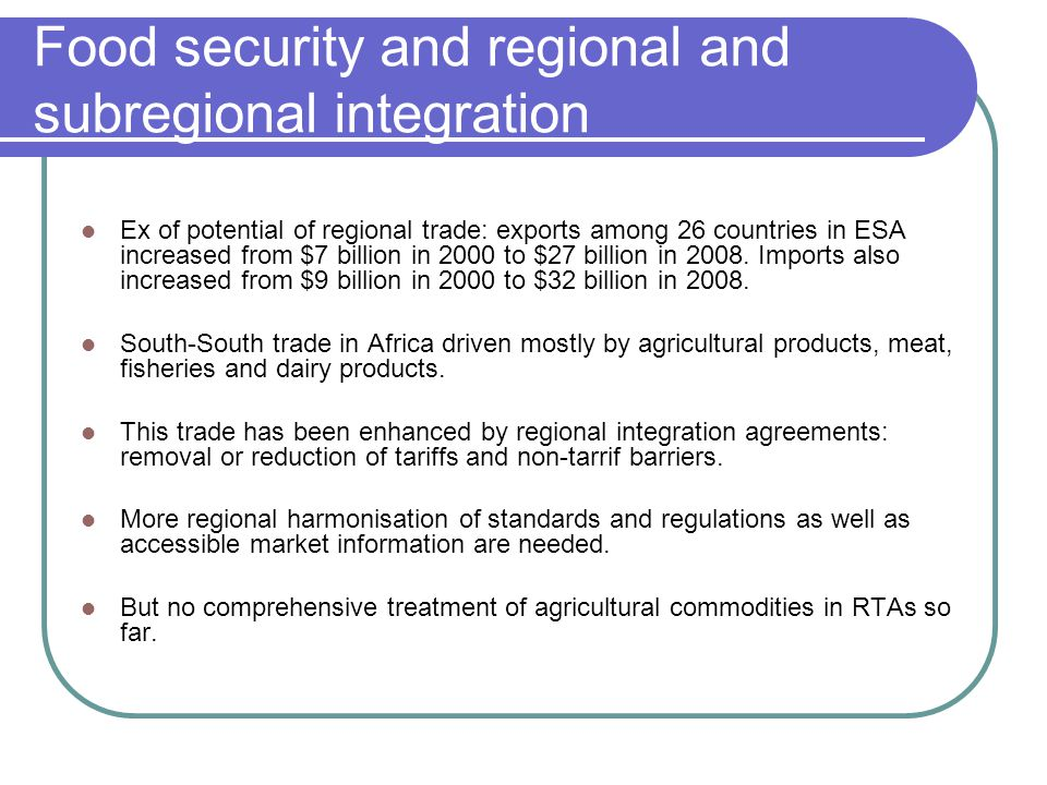 Food security and regional and subregional integration